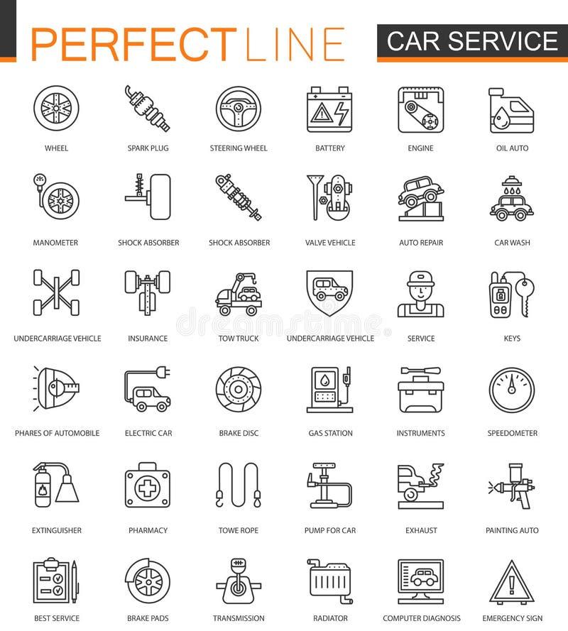 Линия установленные значки ремонтных услуг автомобиля тонкая сети Дизайн значков хода плана бесплатная иллюстрация