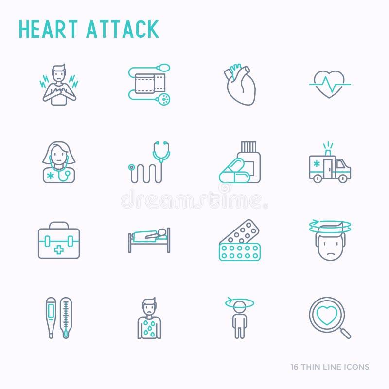 Линия установленные значки сердечного приступа тонкая иллюстрация вектора
