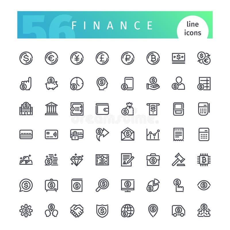 Линия установленные значки финансов иллюстрация штока
