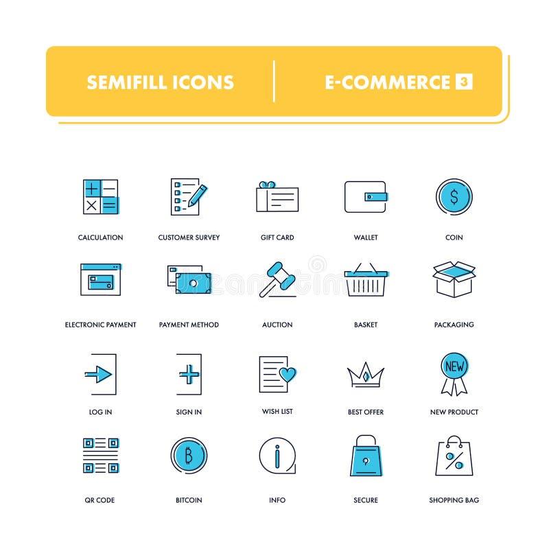 Линия установленные значки Электронная коммерция 3 бесплатная иллюстрация