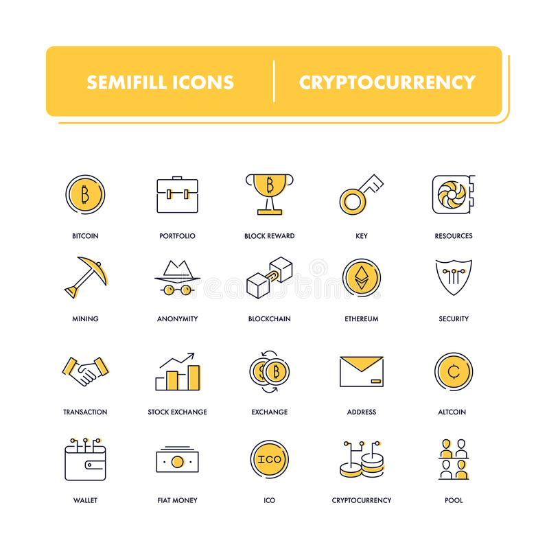 Линия установленные значки Cryptocurrency бесплатная иллюстрация