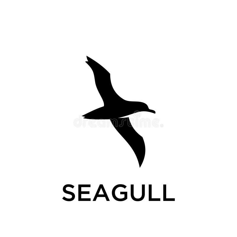 Линия установленный значок плана простого логотипа чайки черная логотипа силуэта конструирует вектор для печати значка логотипа иллюстрация вектора
