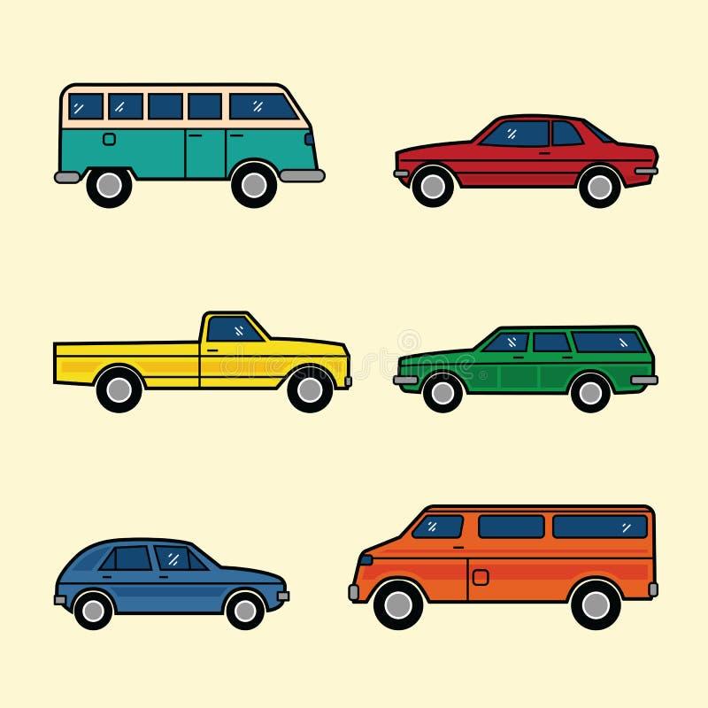 Линия установленные автомобили вектора цвета стиля бесплатная иллюстрация