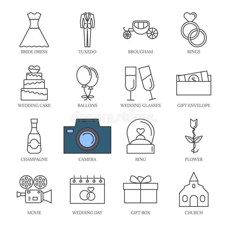 Линия установленные значки вектора черная свадьбы бесплатная иллюстрация