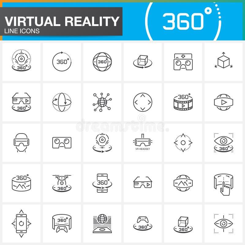 Линия установленные значки виртуальной реальности Технологии нововведения, стекла AR, Голов-установленный дисплей, прибор игры VR иллюстрация штока