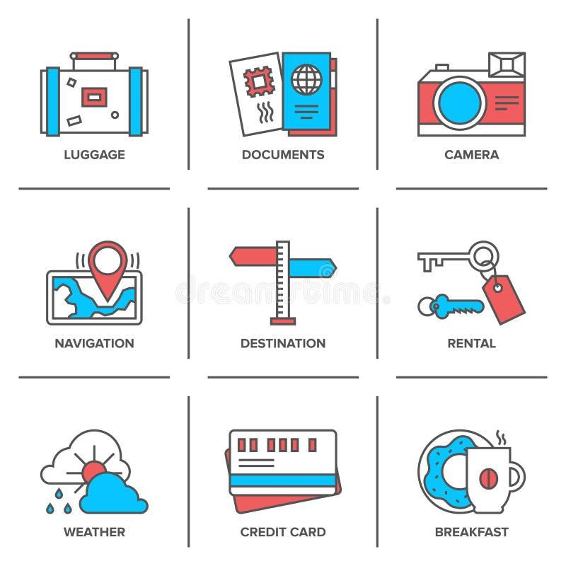 Линия установленные значки деталей каникул бесплатная иллюстрация