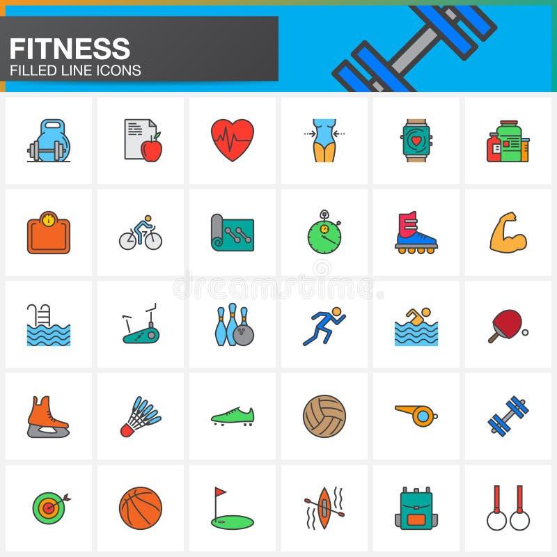 Линия установленные значки, заполненное собрание фитнеса символа вектора плана, бесплатная иллюстрация