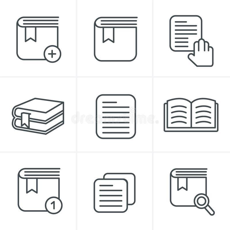 Линия установленные значки книги стиля значков иллюстрация вектора