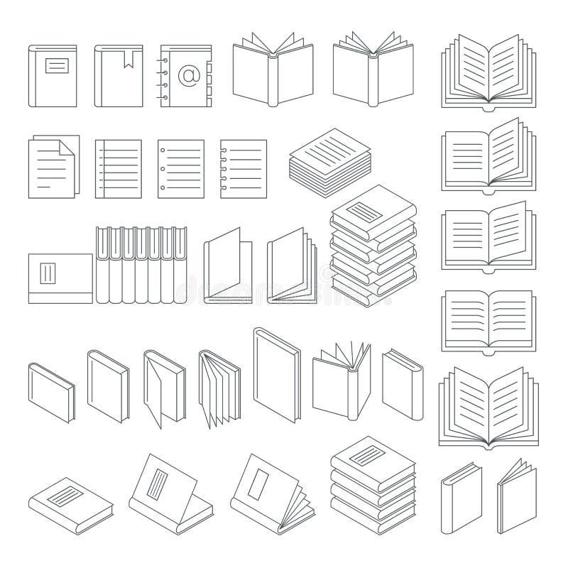 Линия установленные значки книги иллюстрация штока