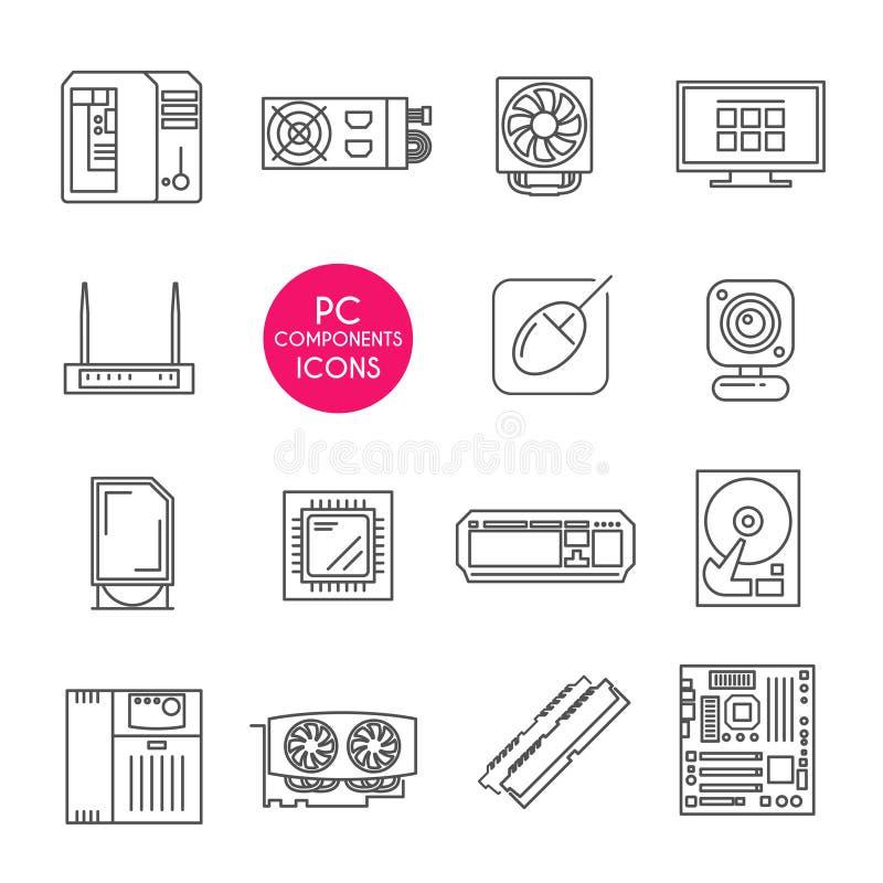 Линия установленные значки Компоненты ПК бесплатная иллюстрация