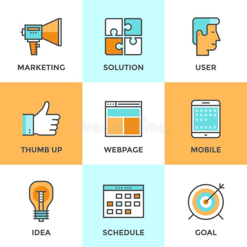 Линия установленные значки маркетинга цифров иллюстрация штока