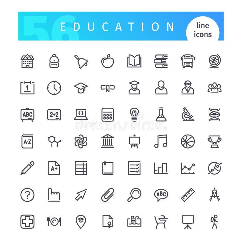 Линия установленные значки образования бесплатная иллюстрация