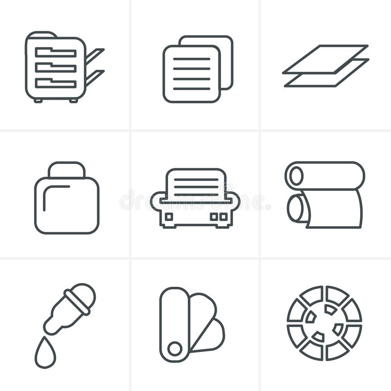 Линия установленные значки печати стиля значков стоковая фотография rf