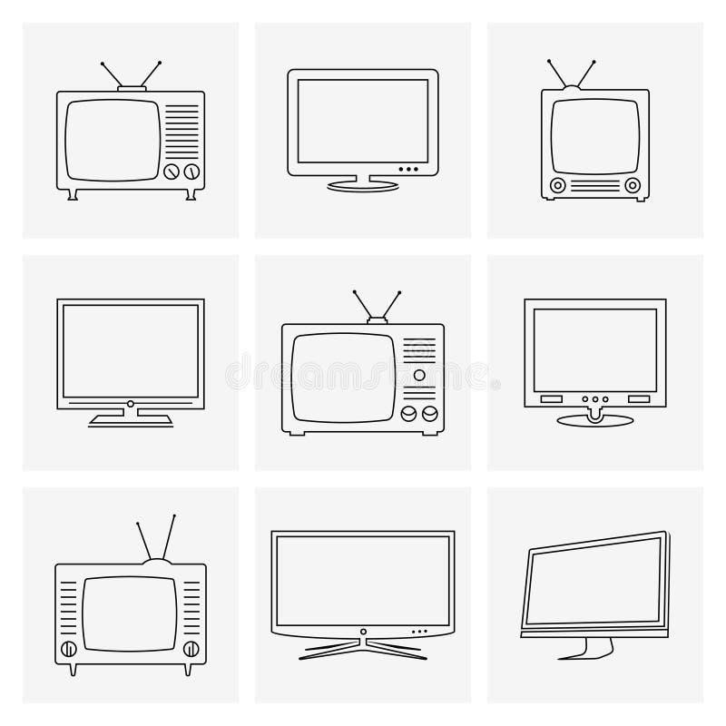 Линия установленные значки ТВ тонкая иллюстрация вектора