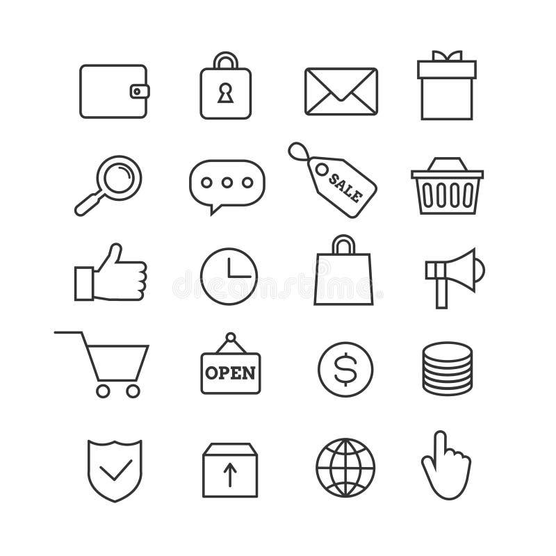 Линия установленные значки электронной коммерции ходя по магазинам тонкая вектора иллюстрация вектора