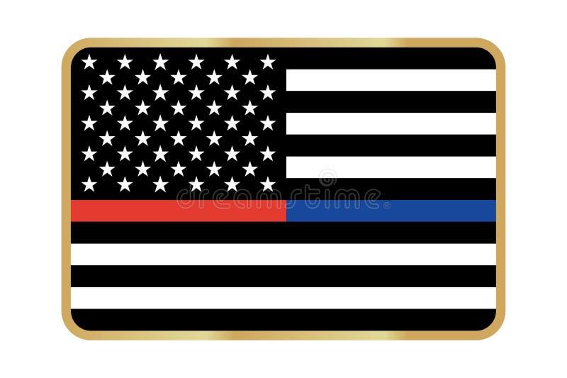 Линия флаг вектора американская тонкая иллюстрация вектора