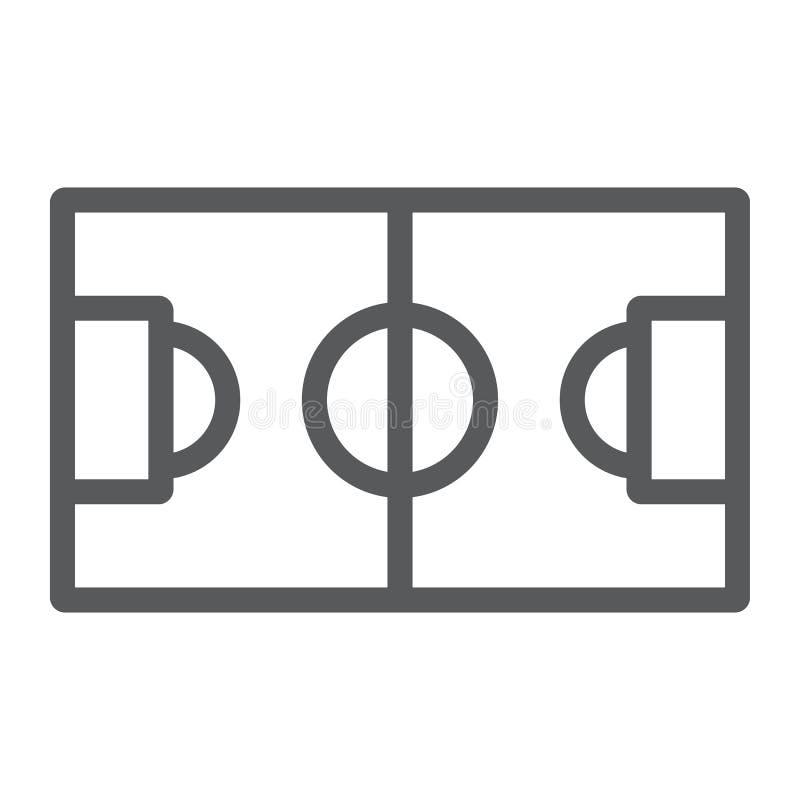 Линия футбольного поля значок, спорт и футбол, знак стадиона, векторные графики, линейная картина на белой предпосылке бесплатная иллюстрация