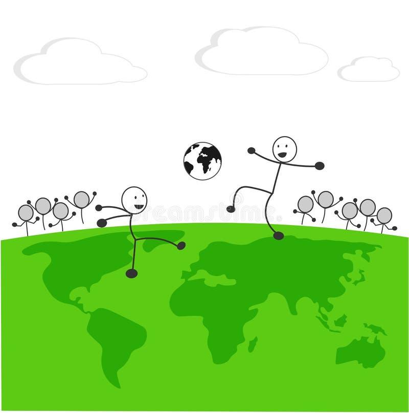 Линия футбол игры человека на векторе поля карты мира иллюстрация вектора