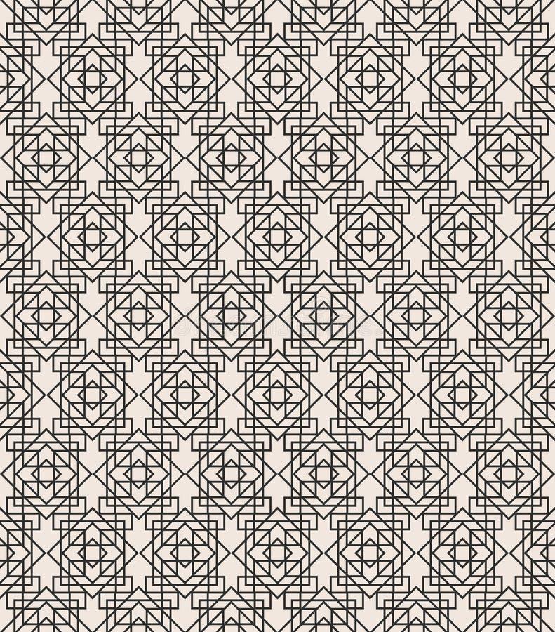 Линия цвет черноты картины стиля Арт Деко геометрическая безшовная на белой предпосылке для поздравительной открытки иллюстрация вектора