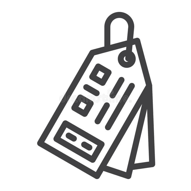 Линия ценника значок иллюстрация вектора