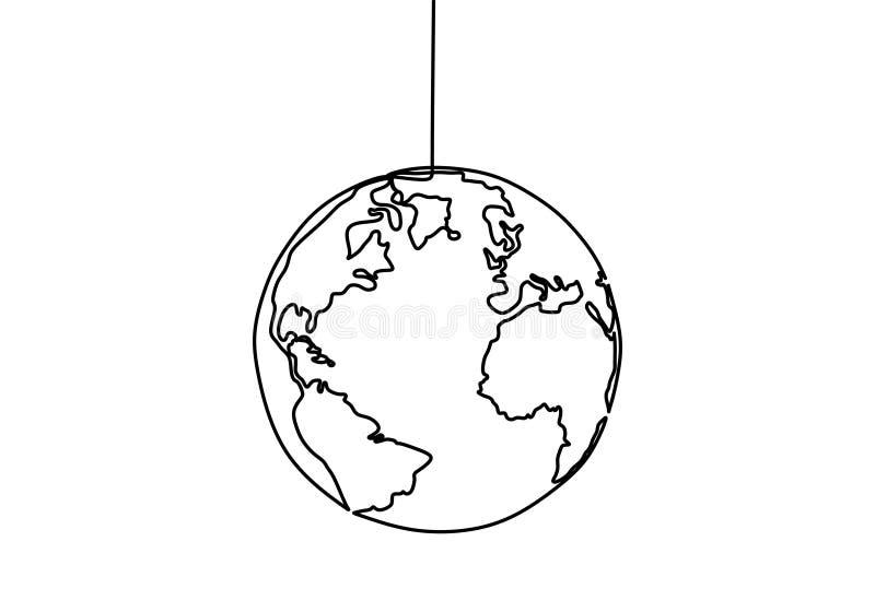 Линия чертеж глобуса одного земли дизайна иллюстрации вектора карты мира минималистского минимализма изолированного на белой пред бесплатная иллюстрация