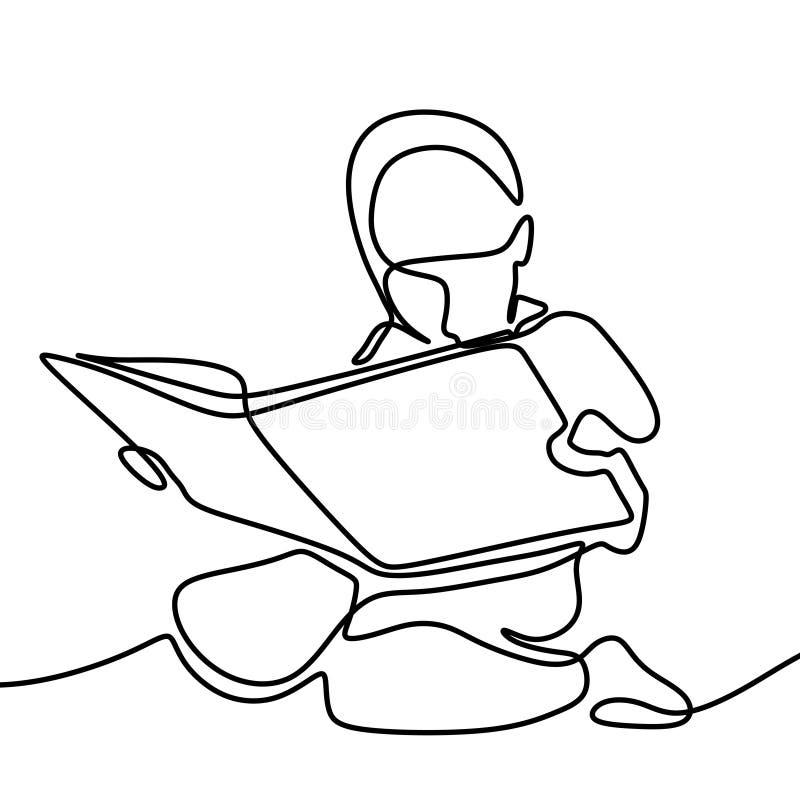 Линия чертеж книги чтения детей непрерывная иллюстрация вектора