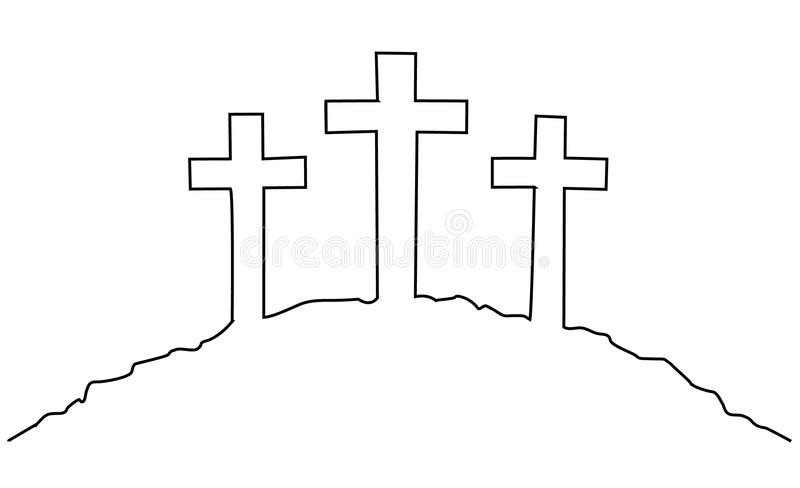 Линия чертеж креста одного пасхи бесплатная иллюстрация