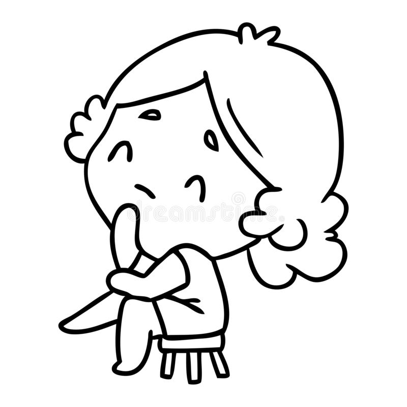 линия чертеж милой дамы kawaii иллюстрация штока
