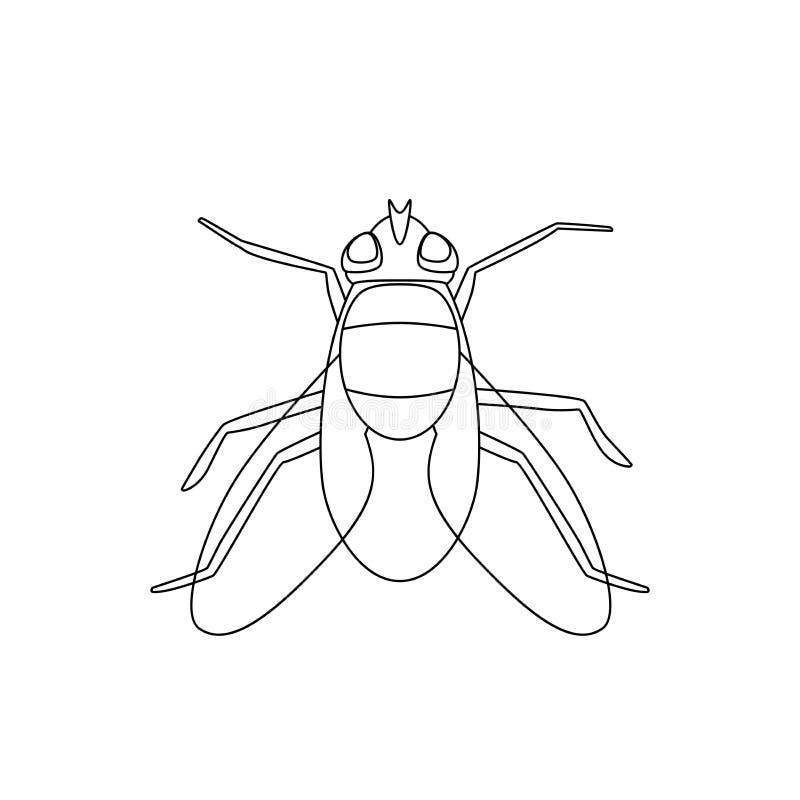 Линия чертеж мухы иллюстрация вектора
