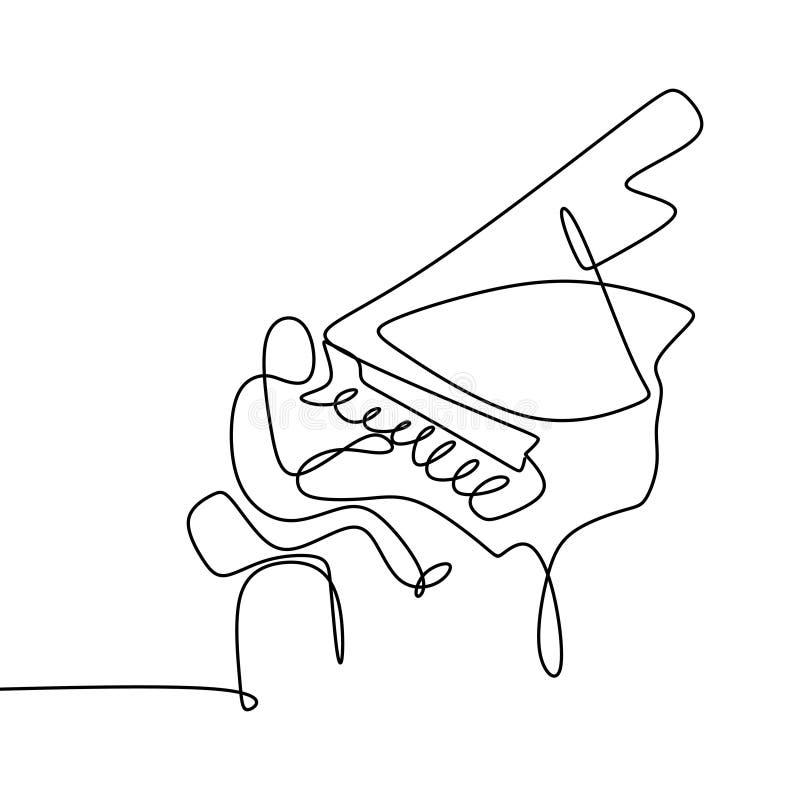 Линия чертеж пианиста одного иллюстрация вектора