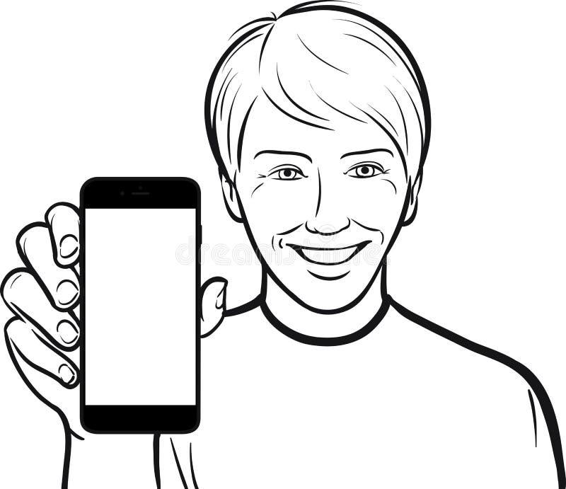Линия чертеж подростка показывая передвижной app на умном телефоне иллюстрация штока