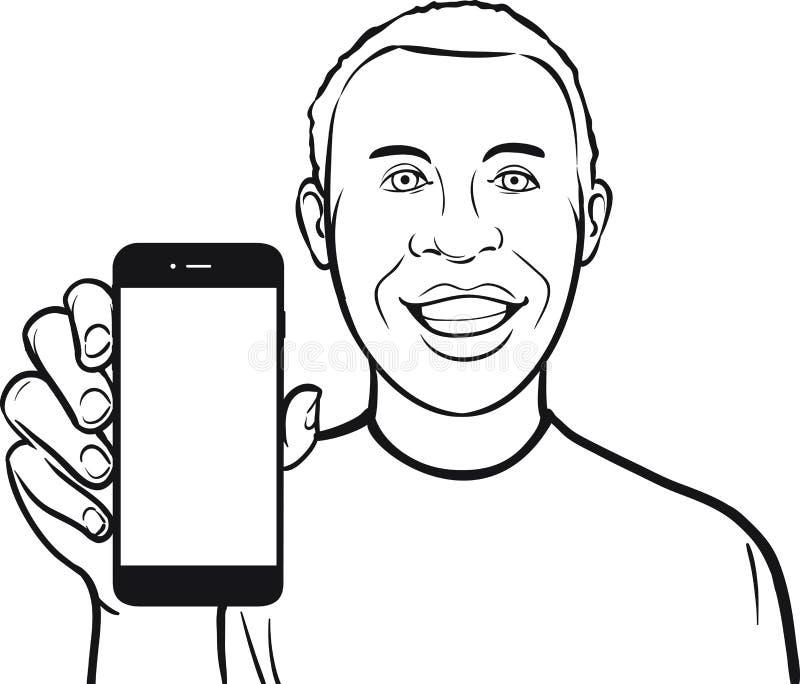 Линия чертеж счастливого чернокожего человека показывая передвижной app на smar иллюстрация штока