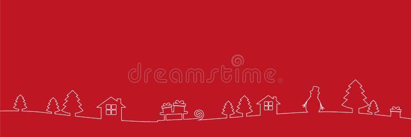Линия чертеж украшения границы белого рождества на красной предпосылке иллюстрация вектора