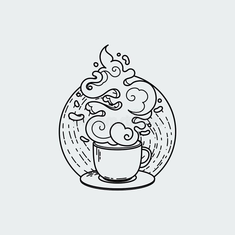 Линия чертеж чашки кофе или чая Современная плоская линейная иллюстрация вектора иллюстрация штока