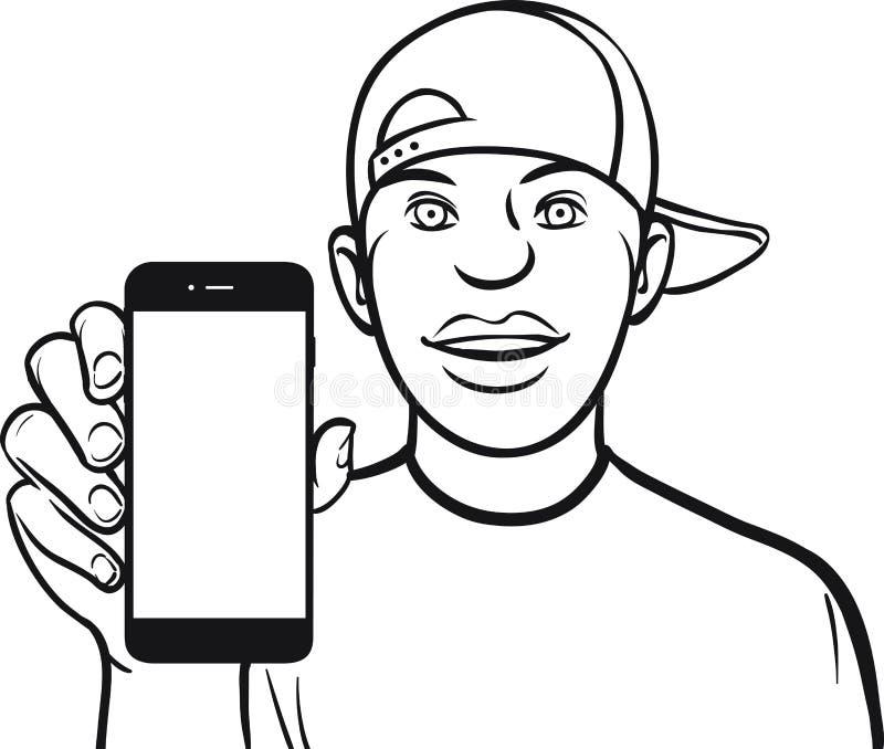 Линия чертеж черного парня в крышке показывая передвижной app на sma иллюстрация вектора