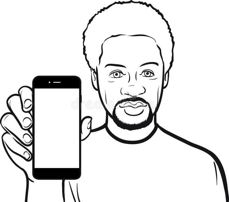 Линия чертеж чернокожего человека показывая передвижной app на умном phon иллюстрация штока