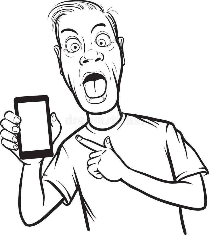 Линия чертеж шального человека показывая передвижной app на умном телефоне иллюстрация вектора