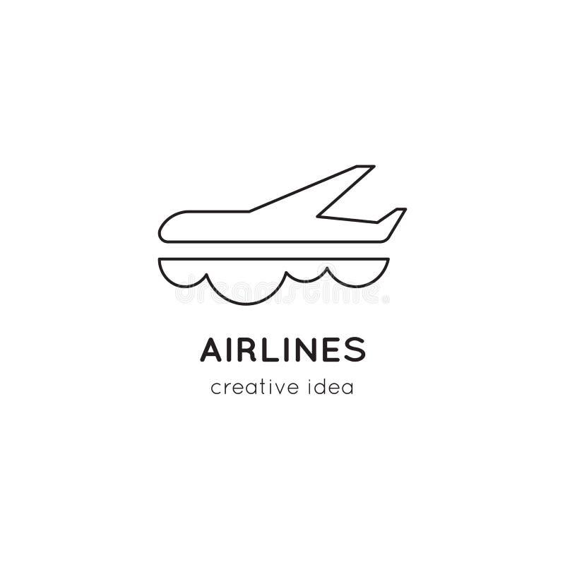 Линия шаблон авиакомпаний логотипа иллюстрация штока