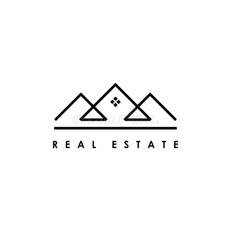 Линия шаблон недвижимости дизайна логотипа искусства Конструируйте элементы для логотипа, ярлыка, эмблемы, знака иллюстрация вект бесплатная иллюстрация