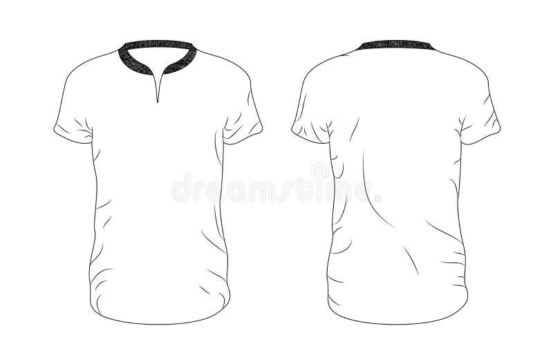 Линия шаблон футболки пробела вектора Фронт и задняя часть иллюстрация вектора