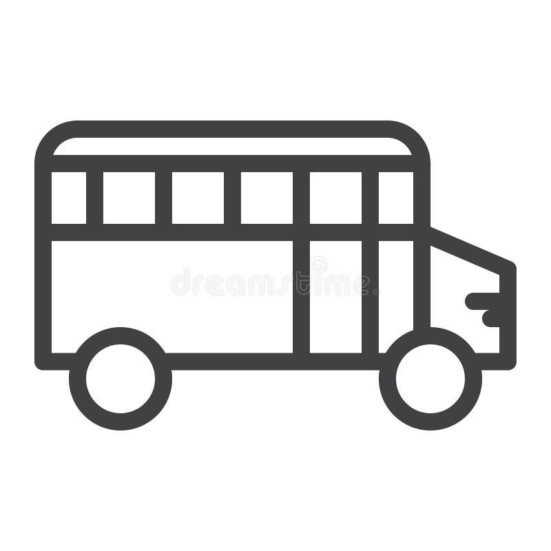 Линия школьного автобуса значок иллюстрация штока