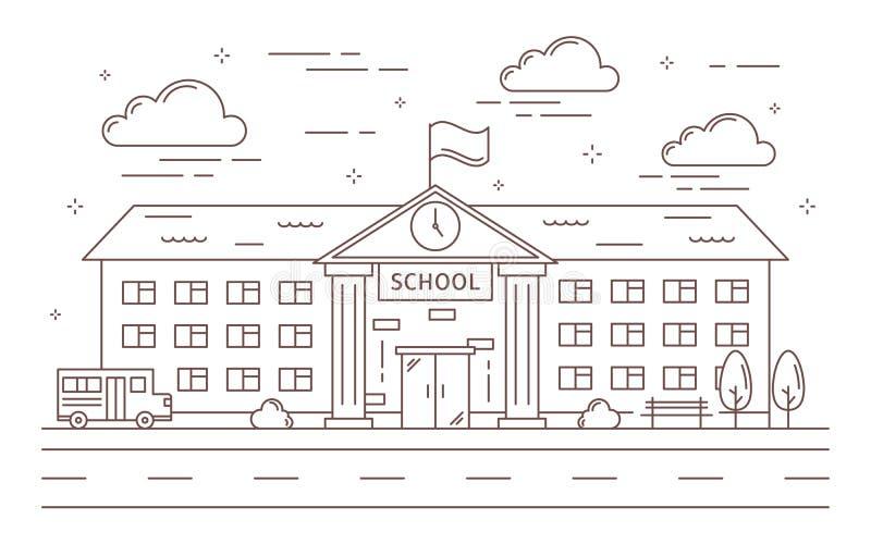 Линия школьное здание бесплатная иллюстрация