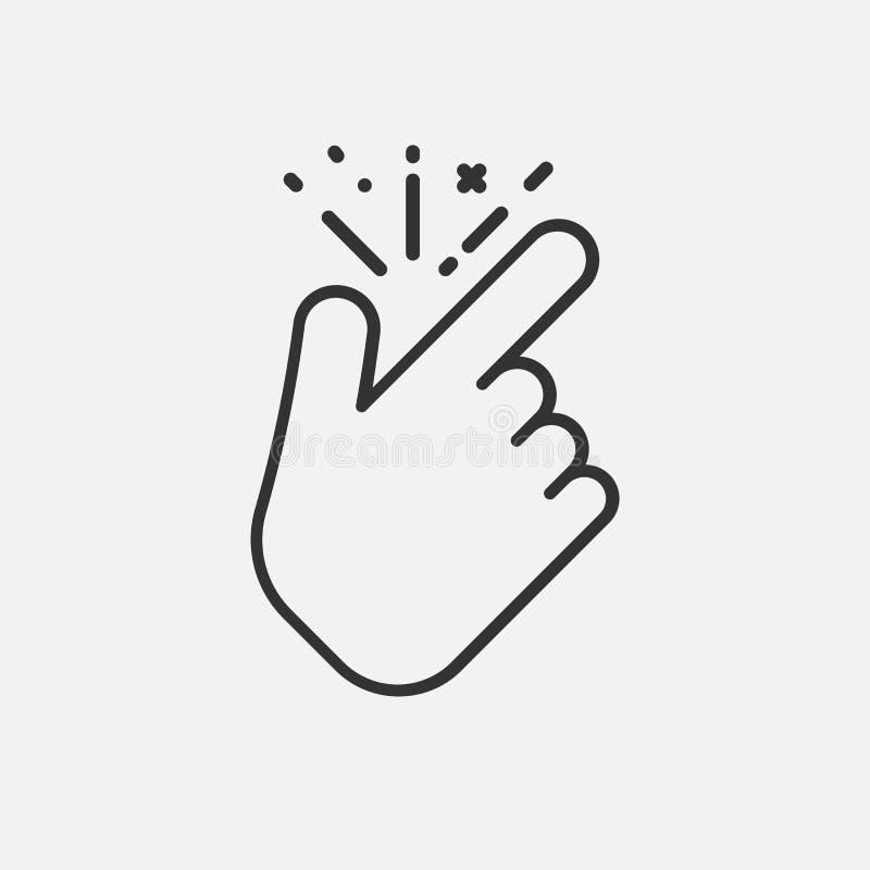 Линия щелчковый палец как значок изолированный на белой предпосылке также вектор иллюстрации притяжки corel иллюстрация вектора