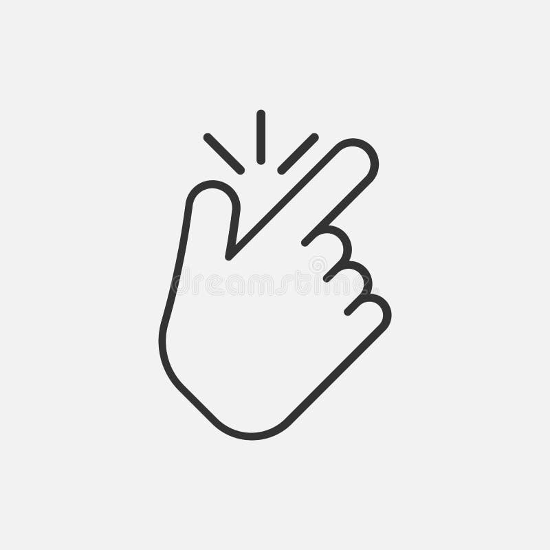 Линия щелчковый палец как значок изолированный на белой предпосылке также вектор иллюстрации притяжки corel бесплатная иллюстрация