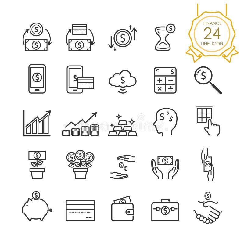 Линия элементы финансов значка установленные банкноты, монетки, кредитной карточки, обмена и денег в руке Editable ход иллюстрация вектора