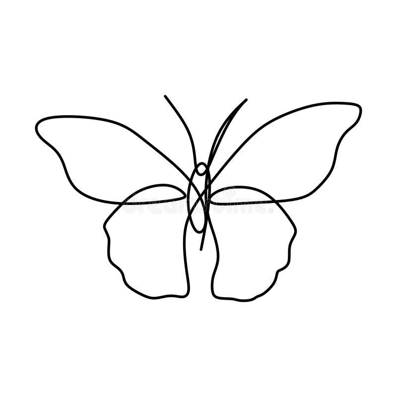 Линия элемент бабочки одного непрерывная чертежа изолированный на белой предпосылке для логотипа или декоративного элемента Иллюс бесплатная иллюстрация
