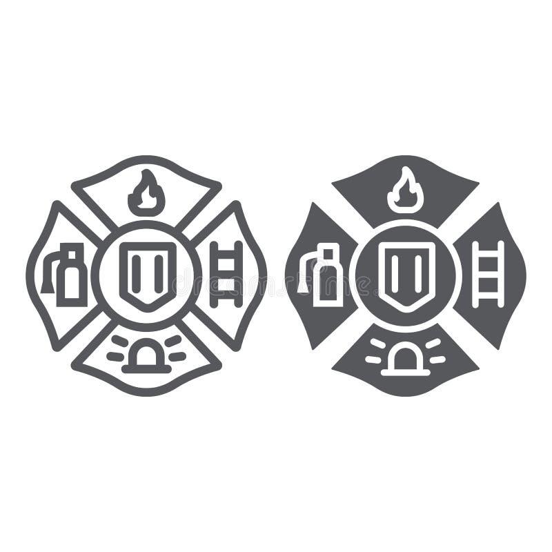Линия эмблемы огня и значок глифа, символ и пожарный, знак значка огня, векторные графики, линейная картина на белом иллюстрация вектора