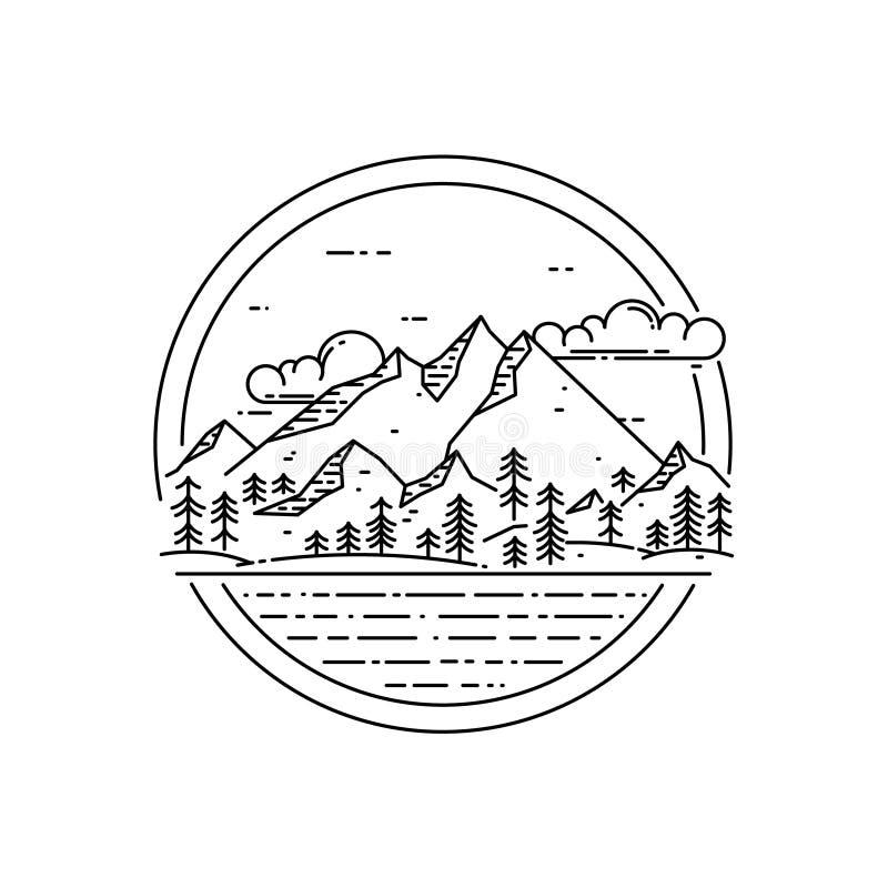 Линия эмблема вектора с ландшафтом, лесом, морем и облаками горы иллюстрация штока