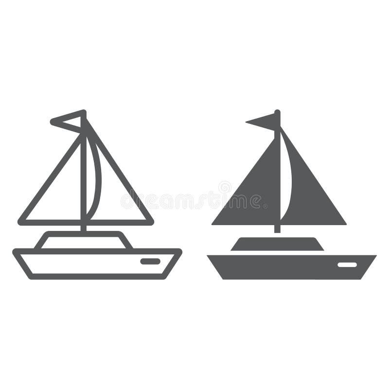 Линия яхты и значок глифа, переход и корабль, знак шлюпки, векторные графики, линейная картина на белой предпосылке бесплатная иллюстрация