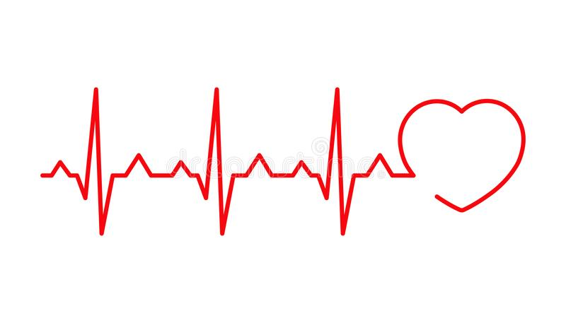 Линия Cardiogram в форме сердца иллюстрация штока